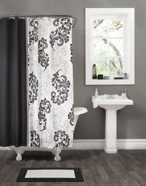 Ordinaire ... White Tiles Free Standing Tub Damask Shower Curtain ...